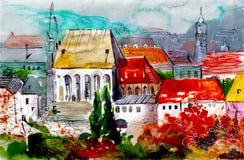 Χαριτωμένα σπίτια με το κόκκινο έργο τέχνης watercolor στεγών Στοκ εικόνα με δικαίωμα ελεύθερης χρήσης