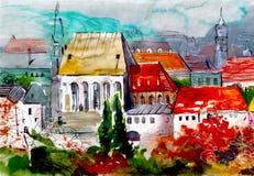 Χαριτωμένα σπίτια με το κόκκινο έργο τέχνης watercolor στεγών Στοκ Φωτογραφία