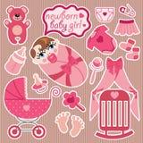Χαριτωμένα στοιχεία για το ευρωπαϊκό νεογέννητο κοριτσάκι. Στοκ Εικόνες