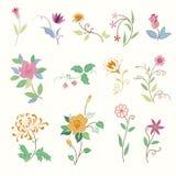 Χαριτωμένα στοιχεία λουλουδιών Στοκ Εικόνες