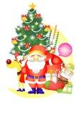 Χαριτωμένα στοιχεία Χριστουγέννων με αστείο Άγιο Βασίλη - απεικόνιση eps10 διανυσματική απεικόνιση