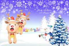 Χαριτωμένα στοιχεία Χριστουγέννων με τον τάρανδο και το χιονάνθρωπο - απεικόνιση eps10 απεικόνιση αποθεμάτων