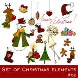 Χαριτωμένα στοιχεία Χριστουγέννων ελεύθερη απεικόνιση δικαιώματος