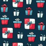 Χαριτωμένα στοιχεία Χριστουγέννων doodles o Σχέδιο χριστουγεννιάτικων δώρων Σχέδιο για τυπωμένος, ύφασμα ελεύθερη απεικόνιση δικαιώματος