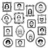 Χαριτωμένα συρμένα χέρι πλαίσια εικόνων με τους ανθρώπους Στοκ εικόνα με δικαίωμα ελεύθερης χρήσης