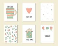 Χαριτωμένα συρμένα χέρι doodle γενέθλια, κόμμα, κάρτες ντους μωρών Στοκ εικόνα με δικαίωμα ελεύθερης χρήσης