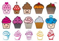 Χαριτωμένα σχέδια cupcake, διανυσματικό σύνολο Στοκ Εικόνες