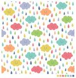Χαριτωμένα σύννεφα και άνευ ραφής υπόβαθρο βροχής Στοκ εικόνες με δικαίωμα ελεύθερης χρήσης
