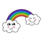 Χαριτωμένα σύννεφο και ουράνιο τόξο, απεικόνιση των παιδιών, διάνυσμα στοκ φωτογραφίες με δικαίωμα ελεύθερης χρήσης
