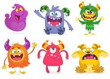 χαριτωμένα τέρατα κινούμεν&om Διανυσματικό σύνολο τεράτων κινούμενων σχεδίων: φάντασμα, goblin, bigfoot yeti, troll και αλλοδαπός απεικόνιση αποθεμάτων