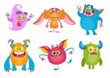 χαριτωμένα τέρατα κινούμεν&om Διανυσματικό σύνολο τεράτων κινούμενων σχεδίων: φάντασμα, goblin, bigfoot yeti, troll και αλλοδαπός διανυσματική απεικόνιση