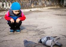 Χαριτωμένα ταΐζοντας πουλιά μικρών παιδιών στο πάρκο πόλεων Καιρός φθινοπώρου ή άνοιξης Στοκ φωτογραφίες με δικαίωμα ελεύθερης χρήσης