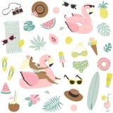 Χαριτωμένα φρούτα θερινών άνευ ραφής σχεδίων, ποτά, παγωτό, γυαλιά ηλίου, φύλλα φοινικών και διογκώσιμη πισίνα φλαμίγκο ελεύθερη απεικόνιση δικαιώματος