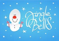 Χαριτωμένα Χριστούγεννα χιονανθρώπων witn lollipops στα χέρια Στοκ Εικόνες