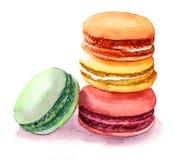 Χαριτωμένα χρωματισμένα macaroons Εικόνα τροφίμων Watercolor Στοκ Εικόνες