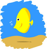 χαριτωμένα ψάρια κίτρινα Στοκ Εικόνα