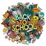 Χαριτωμένα doodles κινούμενων σχεδίων πίσω στη σχολική φράση ζωηρόχρωμη απεικόνιση Στοκ φωτογραφία με δικαίωμα ελεύθερης χρήσης