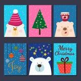 Χαριτωμένες αναδρομικές συρμένες χέρι κάρτες με την αστεία αρκούδα, δέντρο έλατου, παρόν, σφαίρες Για τις χειμερινές διακοπές, Χρ απεικόνιση αποθεμάτων