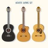Χαριτωμένες απεικονίσεις κιθάρων καθορισμένες ukulele Στοκ φωτογραφία με δικαίωμα ελεύθερης χρήσης