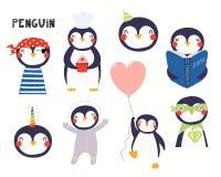 Χαριτωμένες απεικονίσεις λίγου penguin καθορισμένες διανυσματική απεικόνιση