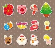 Χαριτωμένες αυτοκόλλητες ετικέττες στοιχείων Χριστουγέννων κινούμενων σχεδίων ελεύθερη απεικόνιση δικαιώματος