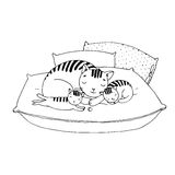 Χαριτωμένες γάτες κινούμενων σχεδίων στα μαξιλάρια Στοκ Φωτογραφία