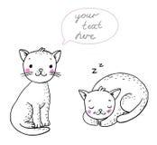 Χαριτωμένες γάτες κινούμενων σχεδίων Στοκ εικόνες με δικαίωμα ελεύθερης χρήσης