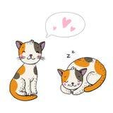Χαριτωμένες γάτες κινούμενων σχεδίων Στοκ Εικόνες