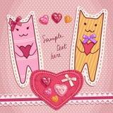 Χαριτωμένες γάτες με την αγάπη των καρδιών Στοκ Εικόνες