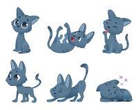 Χαριτωμένες γάτες μωρών Οι αστείοι μικροί διανυσματικοί χαρακτήρες κινουμένων σχεδίων γατακιών παιχνιδιών κατοικίδιων ζώων σε διά ελεύθερη απεικόνιση δικαιώματος