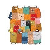 Χαριτωμένες γάτες, doodle ύφος Στοκ Φωτογραφίες