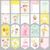 Χαριτωμένες ετικέττες κοριτσάκι Εμβλήματα μωρών Ετικέτες λευκώματος αποκομμάτων Χαριτωμένες κάρτες ελεύθερη απεικόνιση δικαιώματος