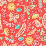Χαριτωμένες ζωηρόχρωμες λουλούδια και πεταλούδες Στοκ εικόνες με δικαίωμα ελεύθερης χρήσης