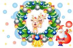 Χαριτωμένες διακοσμήσεις στεφανιών Χριστουγέννων με τον τάρανδο μωρών - διανυσματικό eps10 απεικόνιση αποθεμάτων