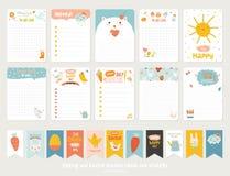Χαριτωμένες διανυσματικές κάρτες, σημειώσεις, αυτοκόλλητες ετικέττες Στοκ Εικόνες