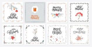 Χαριτωμένες κάρτες δώρων Χαρούμενα Χριστούγεννας συλλογής και σύνολο στοιχείων διανυσματική απεικόνιση