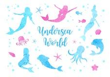 Χαριτωμένες καθορισμένες σκιαγραφίες watercolor της γοργόνας, του δελφινιού, του χταποδιού, των ψαριών και της μέδουσας Υποβρύχια διανυσματική απεικόνιση