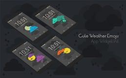 Χαριτωμένες καιρικό moile app οθόνες στα τρισδιάστατα πρότυπα smartphone Στοκ Εικόνες