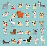 Χαριτωμένες και αστείες φυλές κινούμενων σχεδίων του σκυλιού Ελεύθερη απεικόνιση δικαιώματος