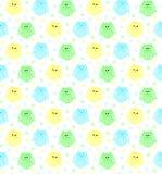 Χαριτωμένες μπλε, πράσινες και κίτρινες κουκουβάγιες με τα αστέρια στο υπόβαθρο Στοκ Εικόνες