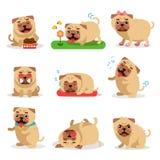 Χαριτωμένες δραστηριότητες σκυλιών μαλαγμένου πηλού κατά τη διάρκεια του συνόλου ημέρας Καθημερινές στερεότυπες διανυσματικές απε Στοκ εικόνες με δικαίωμα ελεύθερης χρήσης