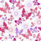 Χαριτωμένες ρόδινες πεταλούδες σε ένα άσπρο υπόβαθρο Άνευ ραφής σχέδιο Στοκ φωτογραφία με δικαίωμα ελεύθερης χρήσης