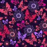 Χαριτωμένες ρόδινες πεταλούδες σε ένα μπλε υπόβαθρο Άνευ ραφής σχέδιο Στοκ Εικόνα