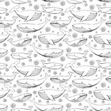 Χαριτωμένες συρμένες χέρι φάλαινες Μονοχρωματικό διανυσματικό άνευ ραφής σχέδιο ελεύθερη απεικόνιση δικαιώματος