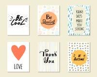 Χαριτωμένες συρμένες χέρι doodle κάρτες, κάρτες, καλύψεις Στοκ Εικόνες