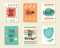 Χαριτωμένες συρμένες χέρι doodle κάρτες, κάρτες Στοκ Εικόνες