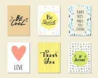 Χαριτωμένες συρμένες χέρι doodle κάρτες, κάρτες Στοκ Εικόνα