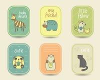 Χαριτωμένες συρμένες χέρι doodle κάρτες ντους μωρών Στοκ φωτογραφία με δικαίωμα ελεύθερης χρήσης