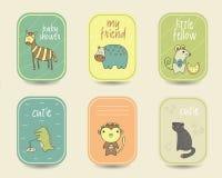 Χαριτωμένες συρμένες χέρι doodle κάρτες ντους μωρών Στοκ εικόνες με δικαίωμα ελεύθερης χρήσης