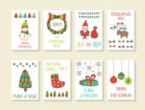 Χαριτωμένες συρμένες χέρι doodle κάρτες Χριστουγέννων Στοκ Εικόνες